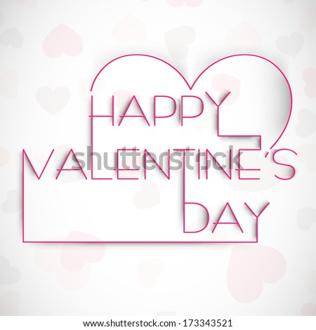 Happy Valentines Day celebration greeting card with stylish text Happy Valentines Day on heart shape decorated background.  - stock vector