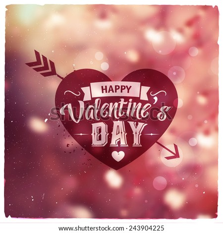 Happy Valentines Day. Creative graphic message for You design.Vector blurred background - stock vector