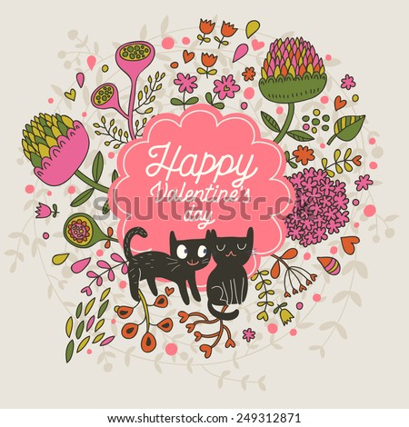 Happy Valentines day. Cute small kittens in clover flowers - bright childish background in vector - stock vector