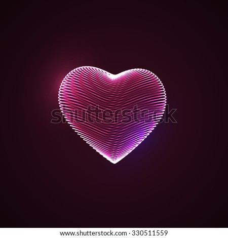 Happy Valentines Day.3D illuminated neon heart of glowing particles and wireframe. Vector illustration.  - stock vector