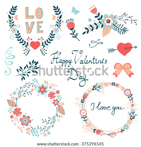 Happy Valentines day elegant graphic elements collection