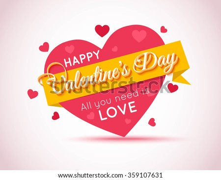 Happy Valentines Day Flyer. Love Background. All You Need is Love. Vector EPS 10. - stock vector