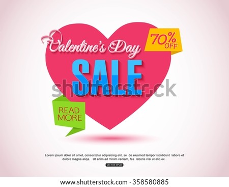 Happy Valentines Day Flyer. Template for creating Advertising Banners, Brochures, Booklets, Posters, Sales leaflets, Sale Flyers Discount. Valentines Day Background.