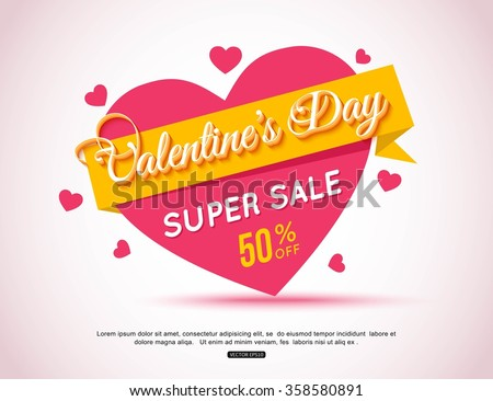 Happy Valentines Day Flyer. Template for creating Advertising Banners, Brochures, Booklets, Posters, Sales leaflets, Sale Flyers Discount. Valentines Day Background. - stock vector
