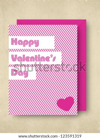 Happy Valentines Day greeting card in pink color with pink envelope. EPS 10.