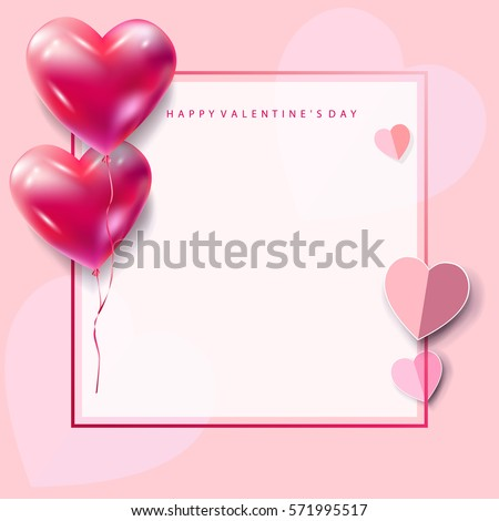 Happy valentines day greeting card vector stock vector 571995517 happy valentines day greeting card vector template romantic poster with hearts balloons festive frame m4hsunfo
