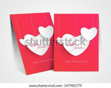happy valentines day greeting card with hearts hanging paper hearts on pink love concept