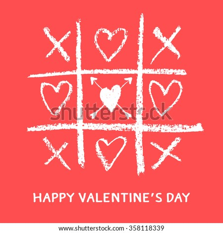 happy valentines day greeting card,xoxo,hug and kiss,love game - stock vector