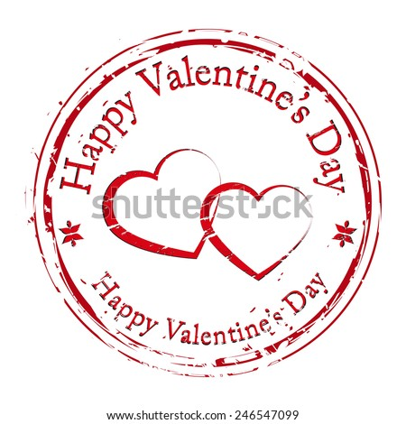 Happy valentines day, grunge postal stamp icon, red isolated on white background, vector illustration. - stock vector