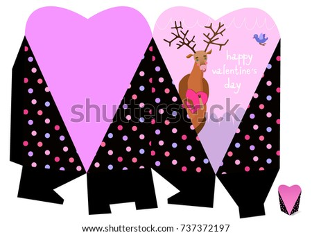 Happy valentines day handmade love gift 737372197 handmade love gift box with funny deer print it on paper negle Gallery