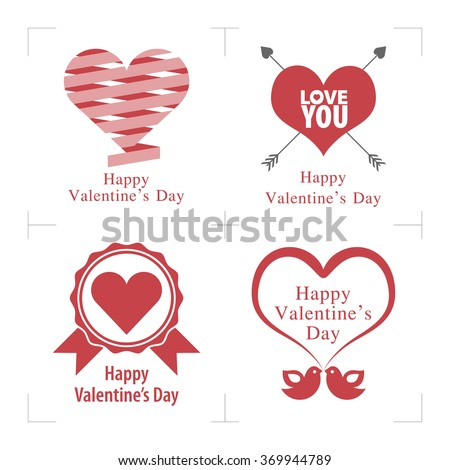 Happy Valentines Day. Happy Valentines Day Cards with ornaments, hearts, ribbon, birds and arrow. Valentines day illustrations elements. - stock vector