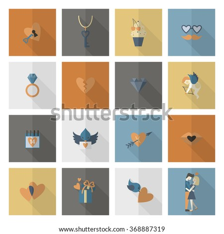 Happy Valentines Day Icons - stock vector