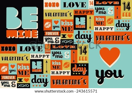 Happy Valentines Day illustration with retro vintage fonts and labels set. Ideal for greeting card, poster design, wedding invitation and wrapping paper seamless pattern. EPS10 vector layered.