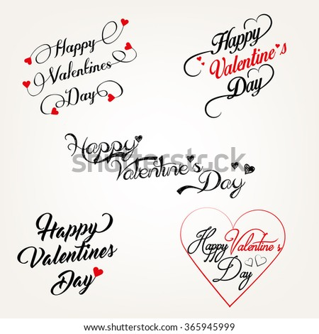 Happy Valentines Day Lettering Card.  Elegant Typographic Background With, Hearts - stock vector