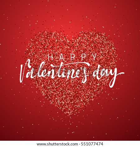 happy valentines day lettering greeting card on red bright heart background festive banner and poster