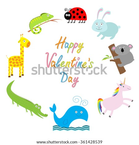 Happy Valentines Day. Love card. Cute animal frame. Baby background. Ladybug, koala, whale, rabbit, unicorn, alligator, giraffe and iguana. Flat design Vector illustration - stock vector