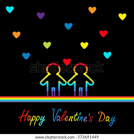 Happy Valentines Day. Love card. Gay marriage Pride symbol Two contour rainbow line man LGBT icon. Hearts. Flat design. Vector illustration - stock vector