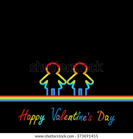 Happy Valentines Day. Love card. Gay marriage Pride symbol Two contour rainbow line woman LGBT icon. Flat design. Black background. Vector illustration - stock vector