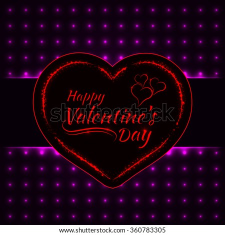 Happy Valentines day magenta lights card, heart and text lights design on dark background