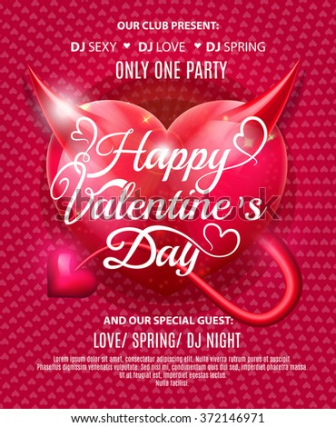 Happy Valentines Day Party Flyer. Vector illustration EPS10 - stock vector