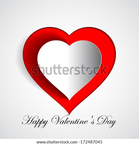 Happy Valentines Day - Red Heart Paper Sticker With Shadow - vector illustration Postcard - stock vector