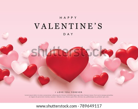 Happy Valentines Day Romance Greeting Card Stock Vector 789649117 ...