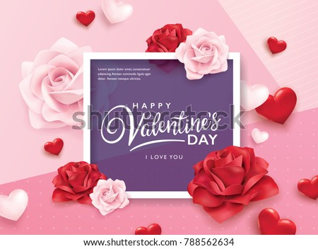 Happy Valentines Day Romance Greeting Card Stock Vector 788562634 ...