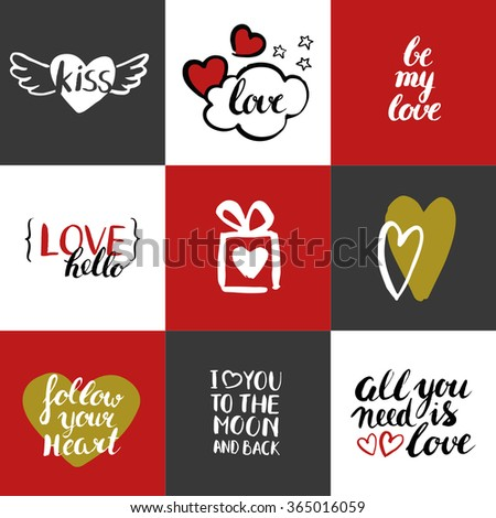 Happy Valentines day. Set of Valentines day greeting card. Modern calligraphy. Hand drawn inscriptions and elements. Handwritten brush lettering with rough edges. Love and hearts. Golden elements. - stock vector