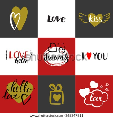 Happy Valentines day. Set of Valentines day greeting card. Modern calligraphy. Hand drawn inscriptions and elements. Handwritten brush lettering with rough edges. Love and hearts. Golden cards. - stock vector