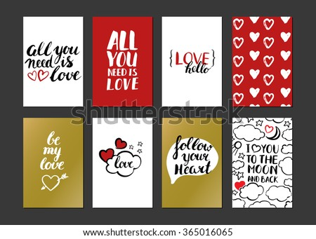 Happy Valentines day. Set of Valentines greeting card. Modern calligraphy. Hand drawn inscriptions and elements. Handwritten brush lettering with rough edges. Love and heart. Ink brush hand lettering. - stock vector