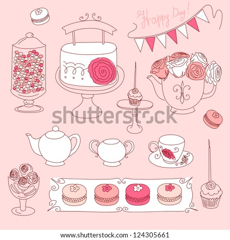 Happy Valentines Day set with bunting, cup cakes, roses, cake, tea, candles and macaroons - stock vector