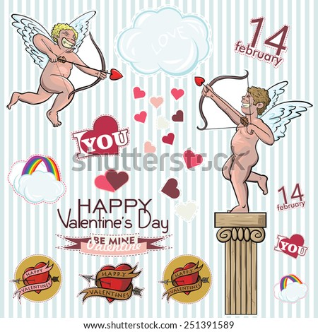 Happy Valentines Day. Stickers cupidon and hearts - stock vector