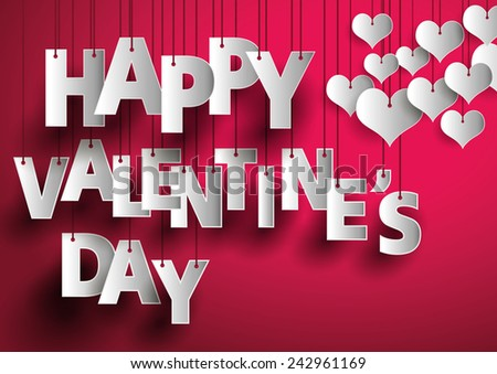 Happy Valentines Day text on red background decorate with white hearts. - stock vector