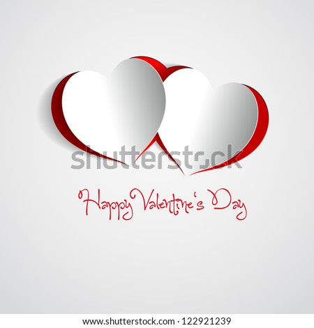 Happy Valentines Day - Two Red Heart Paper Sticker With Shadow - vector illustration Postcard - stock vector