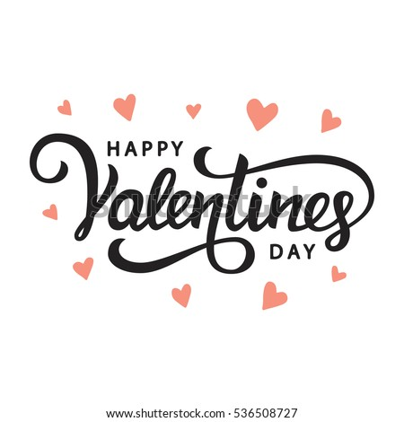 happy valentines day typography poster with handwritten calligraphy text isolated on white background vector - Happy Valentines Day Text