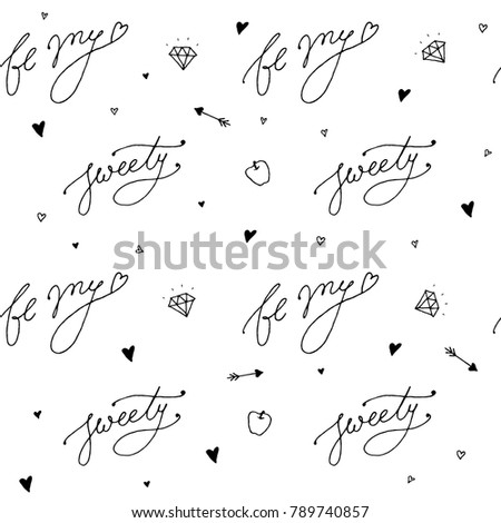 Happy Valentines Day Typography Seamless Pattern Stock Vector