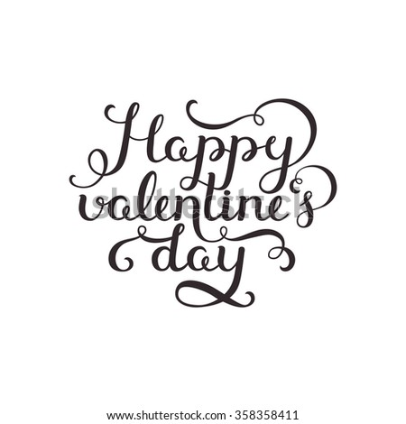Happy valentines day. Valentin day card with handdrawn lettering on white background. Vector romantic card - stock vector