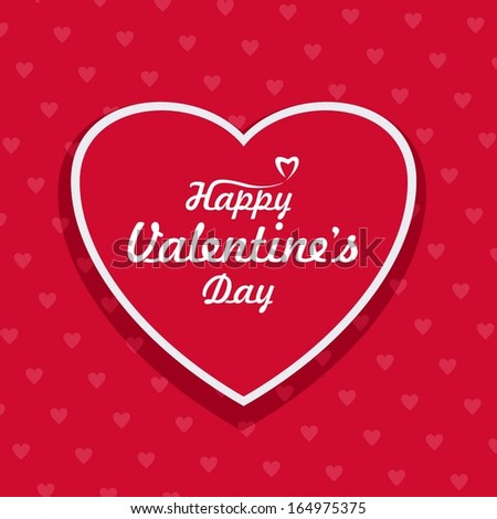 Happy Valentines day vector card with the heart. Vector illustration. - stock vector