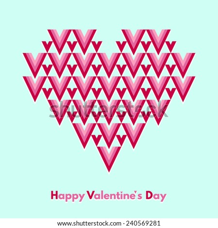 Happy Valentines Day vector greeting card. Abstract geometrical heart with lettering. Conceptual, minimalist. - stock vector