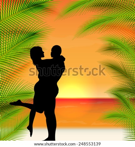 happy valentines day. Vector tropical sunset background  - stock vector