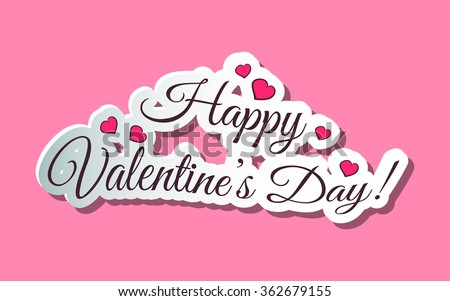 Happy Valentines Day Words Pink - stock vector