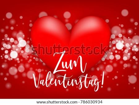 Happy Valentines Day   Zum Valentinstag German Language. Two Realistic 3d  Heart Romantic Sparkle Bokeh