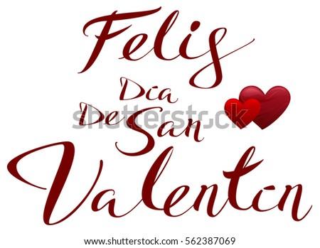 Happy Valentines Translated From Spanish. Feliz Dia De San Valentin. Vector  Illustration Lettering Text