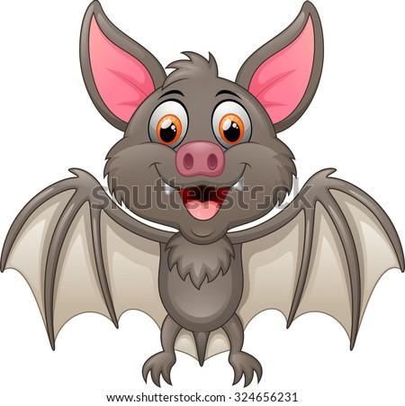 Happy Vampire Bat Cartoon Character Flying - stock vector