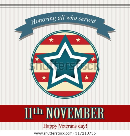 Happy Veterans day - stock vector