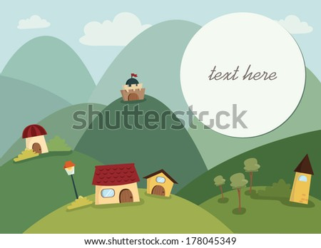 Happy Village Background with text frame - stock vector