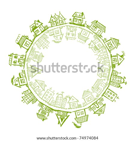 Happy village, frame with houses for your design - stock vector