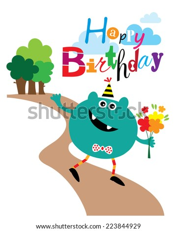 Happy Walking Monster with Flowers Birthday Card. Editable Vector illustration - stock vector