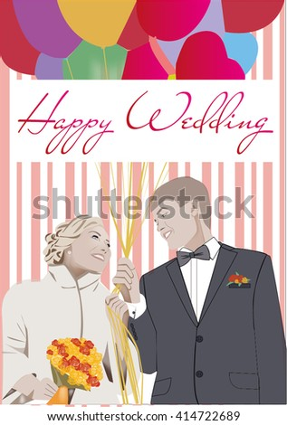 happy wedding love wife and husband. flowers balloons. Can use this for a poster , background, wallpaper or card for your wedding - stock vector
