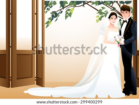 Happy Wedding Photo - cute girl and boy stand and pose with lovely smile and holding a bouquet of flowers in luxury hall on background of wall with brown folding door and a tree : vector illustration - stock vector